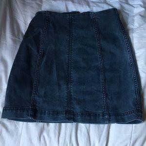 Free People Navy Blue Denim Skirt Size 0